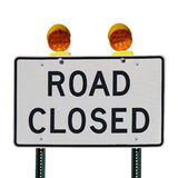 Road closed sign against a white background Royalty Free Stock Photos
