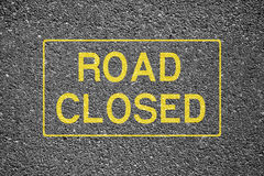 Road Closed. Sign on the asphalt Royalty Free Stock Images