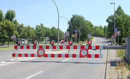 Road closed. Sign and barriers royalty free stock images