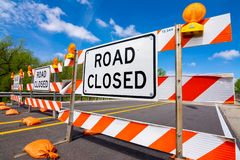Road closed. `Road Closed` sign blocking bridge in LaSalle, Illinois royalty free stock images