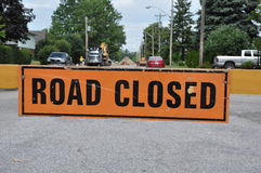 Road Closed sign. Blocking the street Stock Images