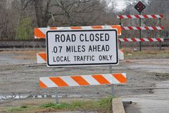 Road closed sign near railroad crossing royalty free stock image