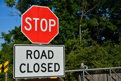 Free Road Closed Sign On The City. Stock Photography - 104224372