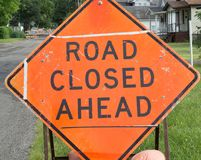 Road closed sign Royalty Free Stock Image