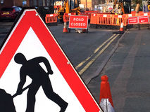 Road closed sign at road works Stock Photography