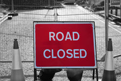 Road closed sign in roadworks Stock Image