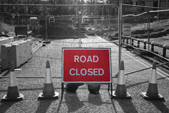 Road closed sign in roadworks Stock Images