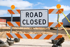 Road closed sign on street Royalty Free Stock Photo