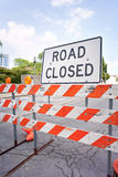 Road closed sign at street. Road closed sign with roadblock Stock Photography