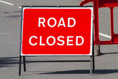 Road closed sign. Temporary red road closed sign Royalty Free Stock Images