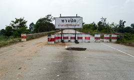 Road closed sign in Thailand Stock Photo