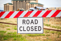 Road closed sign, USA. Road closed warning sign, United States of America Stock Image