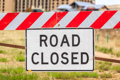 Road closed sign, USA. Road closed warning sign, United States of America Royalty Free Stock Photos