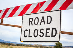 Road closed sign, USA. Road closed warning sign, United States of America Stock Photo