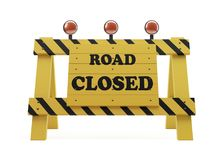 Road Closed Sign On White. With Clipping Path royalty free illustration