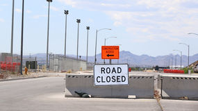 Road closed sign. Working area with signs for directions Royalty Free Stock Image
