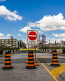 Road Closed Signs in Toronto royalty free stock images
