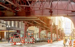 Road closed signs under the Chicago elevated subway stock photo