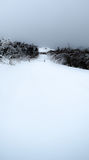 Road Closed. Snow covered road leads up to a barren hilltop Stock Photography