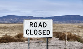 Road Closed street highway sign countryside landscape Royalty Free Stock Photography