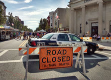 Road Closed to Thru Traffic, Labor Day Street Fair, Rutherford, New Jersey, USA Stock Photography