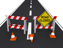Road closed. Two construction barricades with a road sign and traffic cones blocking the road (3d render Royalty Free Stock Image