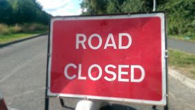 Road closed. UK sign stock photo