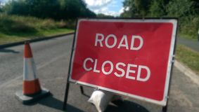 Road closed. UK sign royalty free stock images