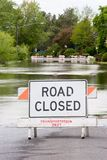 Road Closed Verticle Flooded Street Royalty Free Stock Photos