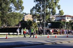Road closure for the Anzac Day March Stock Photo