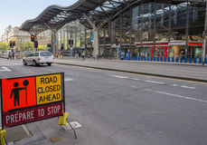Free Road Closure Sign, Outside Southern Cross Station, Melbourne, Australia. Royalty Free Stock Photo - 49108555