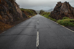 Road on Cloudy Day in El Teide National Park Royalty Free Stock Images