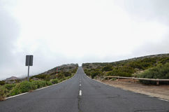 Road on Cloudy Day in El Teide National Park Stock Photography