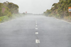 Road on Cloudy Day in El Teide National Park Royalty Free Stock Photography