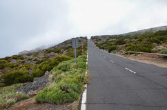 Road on Cloudy Day in El Teide National Park Stock Photo
