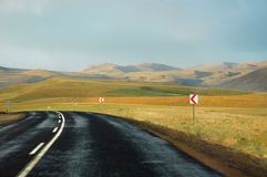Road with cloudy sky. In Turkey Royalty Free Stock Photo