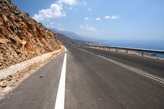 Road at the coast of Crete, Greece Royalty Free Stock Photography