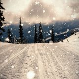 Road coated of snow in mountain Royalty Free Stock Photos