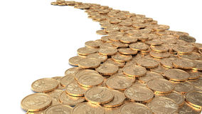Road of coins. Road of golden dollar coins Stock Photography