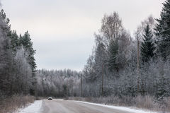 Road on a cold winter day Royalty Free Stock Images