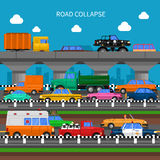 Road Collapse Background. Road collapse and traffic jams background with lots of cars flat vector illustration Stock Photo