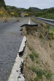 Road erosion. Road Collapse due to erosion Royalty Free Stock Images
