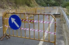 Road erosion. Road Collapse due to erosion Stock Image