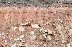 Road collapses.Layer of soil beneath section Royalty Free Stock Photography