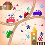 Road with color cars, children's style Royalty Free Stock Image