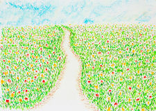 Road among colorful flower field. Pastel on paper Stock Photo