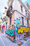 Road with colorful graffiti at Psirri neighborhood Monastiraki Athens Greece Stock Image