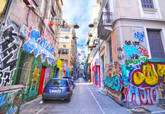 Road with colorful graffiti at Psirri neighborhood Monastiraki Athens Greece Royalty Free Stock Images