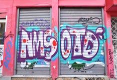 Road with colorful graffiti at Psirri neighborhood Monastiraki Athens Greece royalty free stock images