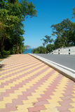 Road and colourful pavement. Country-road with colourful, tiled pavement Stock Images